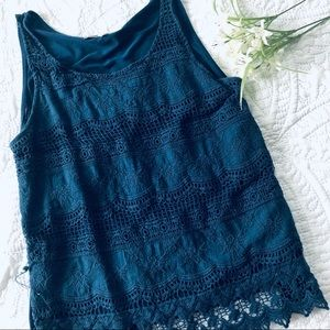 Pink Republic Women's Navy Tank Top with Lace